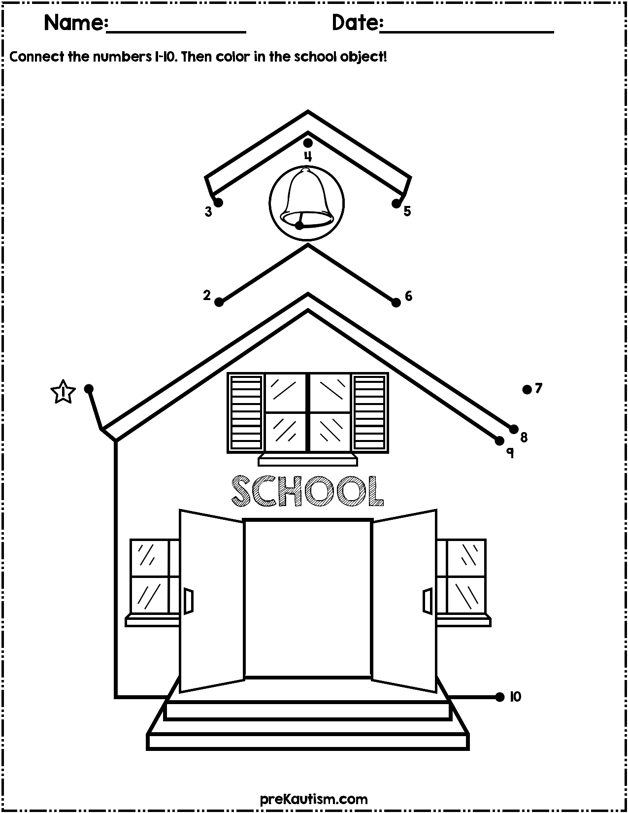 Back To School Dot to Dot Worksheets | Numbers 1-10 | My TpT ...