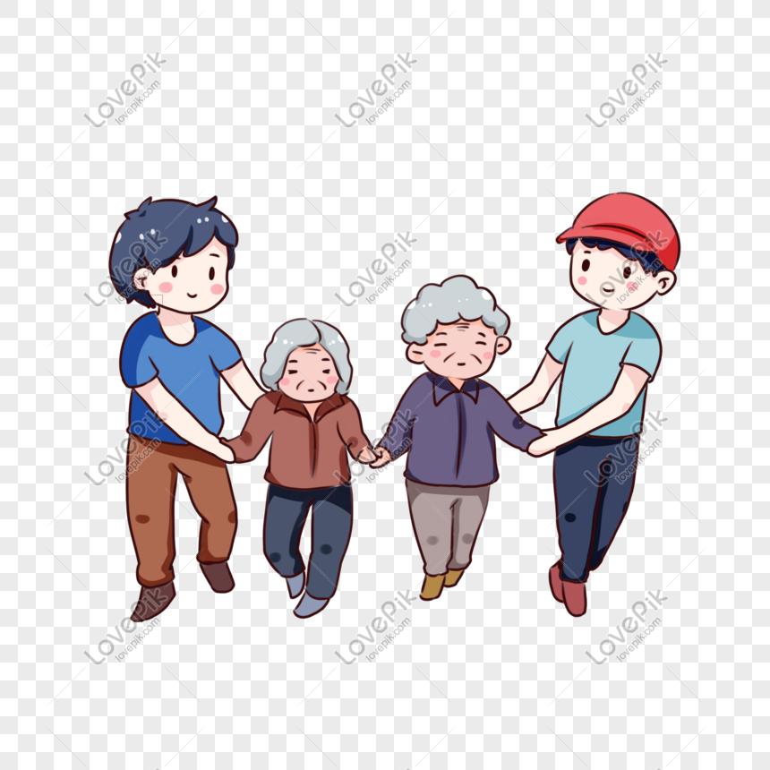 Kartun Yang Digambar Tangan Membantu Orang Tua Menyeberang Jalan Kartun Menggambar Tangan Gambar