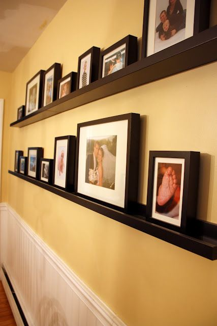 Cheater gallery wall - shelves and frames from IKEA - Ribba line ...