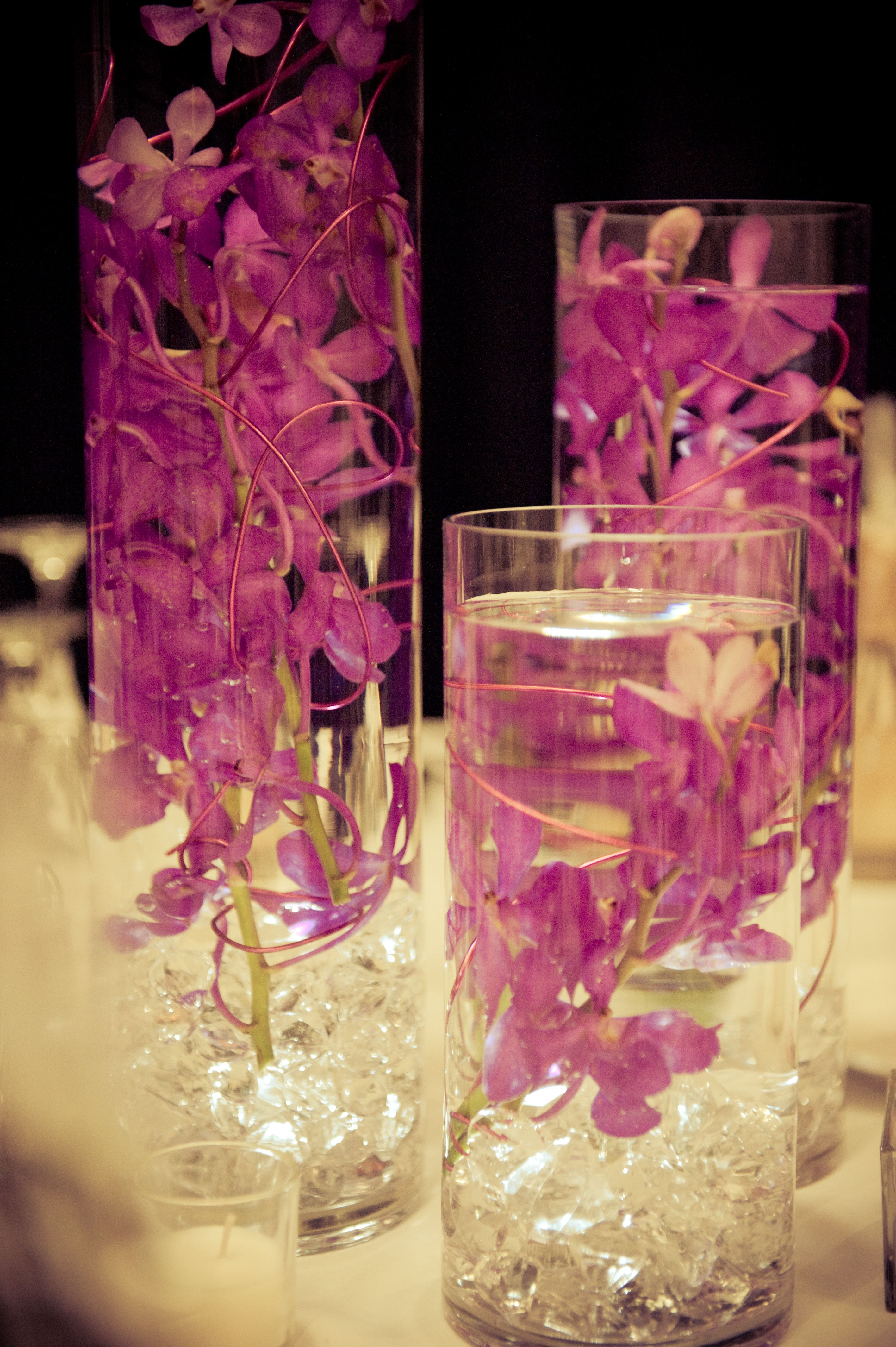 trio of cylinder vase with submerged orchids centerpieces rh pinterest com