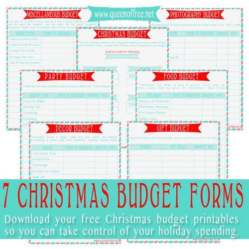 Christmas Budget Worksheet Printable
