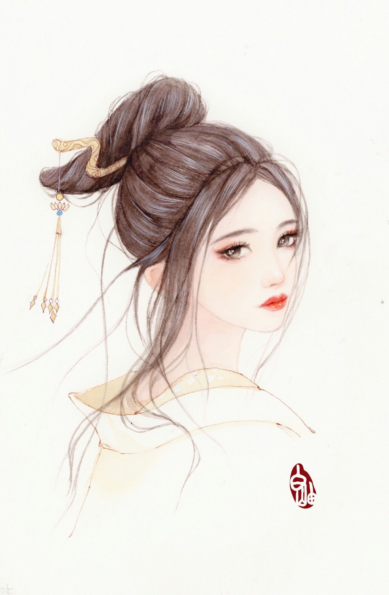 Pin By 樂 陳 On Art 古裝插畫 Chinese Art Girl Anime Art Girl