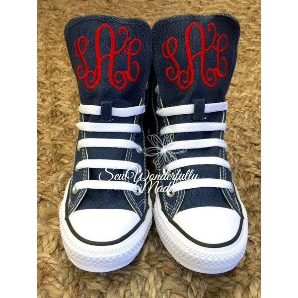 Monogrammed High Top Converse Converse Colors Navy White Red Pink or... ($80) ❤ liked on Polyvore featuring shoes, sneakers, black, hi tops, sneakers & athletic shoes, women's shoes, pink shoes, evening bridal shoes, high top shoes and navy shoes