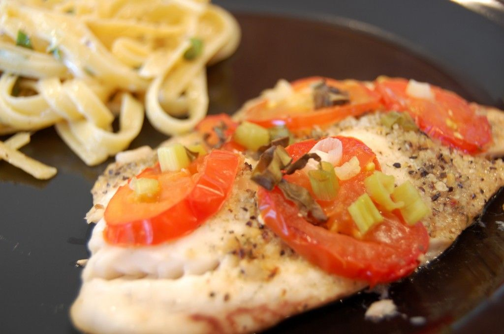 Tilapia with veggies baked in foil
