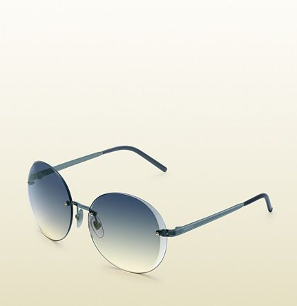 0f3d8fd541 Flora round rimless sunglasses Gucci blue metal temples with web and logo  detail grey shaded lens with gucci logo 100% UVA UVB protection medium GG  4247 S ...