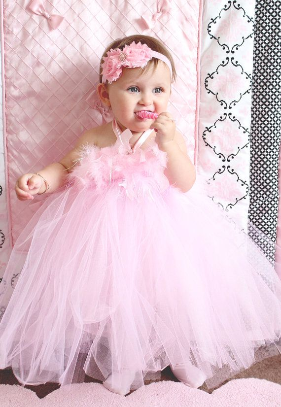 d7a1d6f70a29 Gorgeous Light Pink Feather Tutu Dress for Baby Girl 6-18 Months First  Birthday on Etsy, $45.00