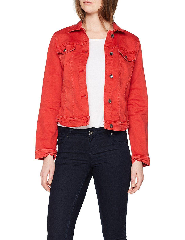 Schöne Jeansjacke für Damen in Rot. Die Jacke eignet sich super als  Übergangsjacke für Herbst 8438a5b537