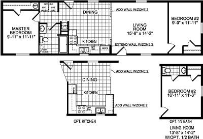 Single wide mobile home floor plans single wide homes One bedroom one bath mobile home