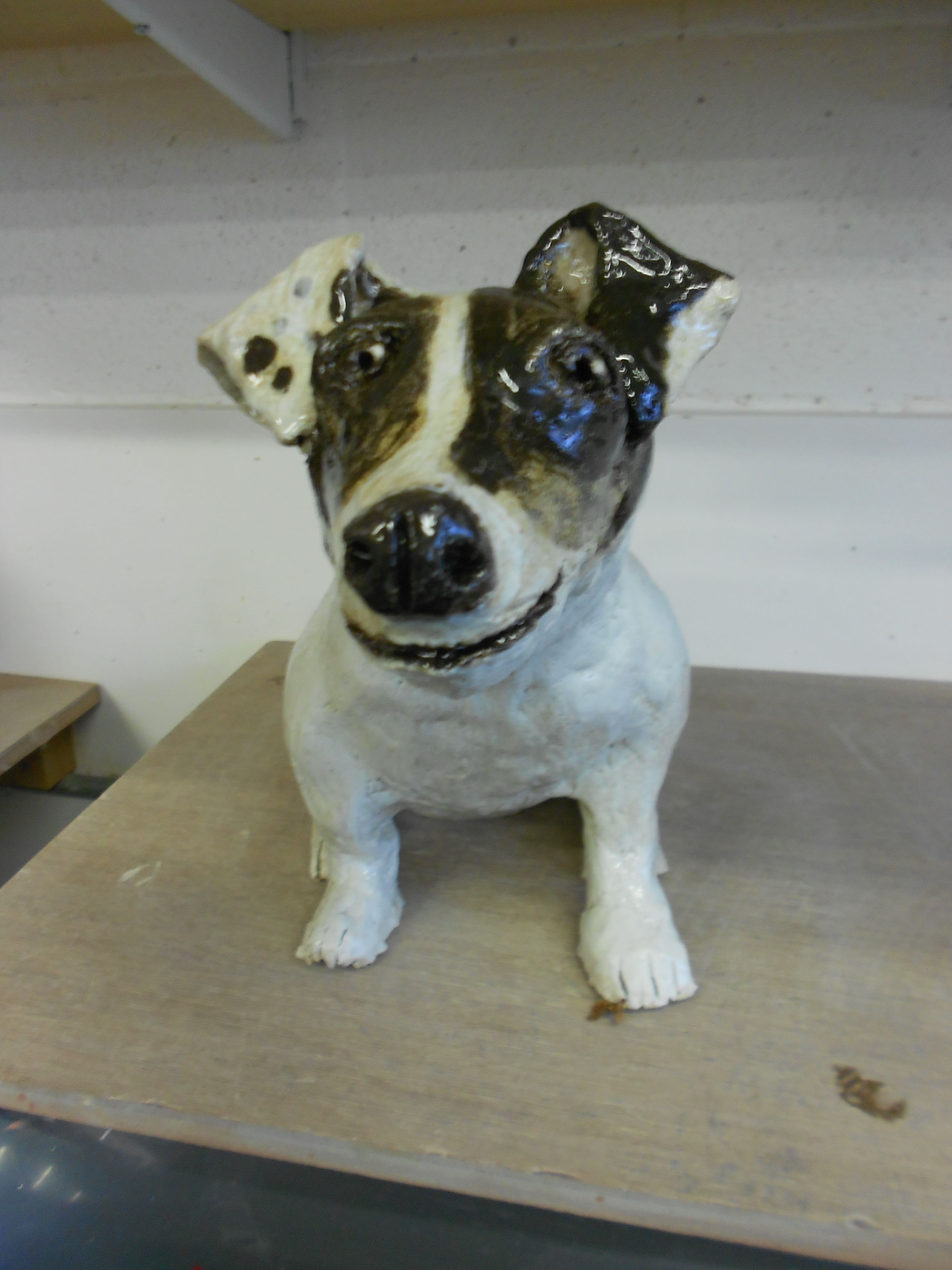 Life size ceramic Jack Russell