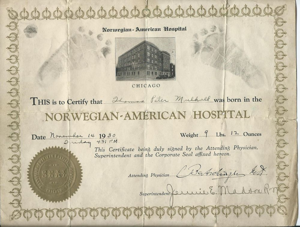 Sold  Norwegian American Hospital Birth Certificate Chicago