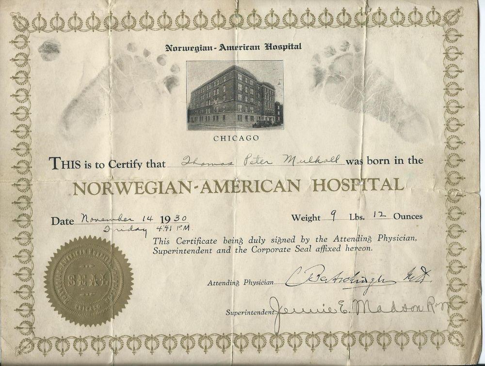 Sold  Norwegian American Hospital Birth Certificate Chicago