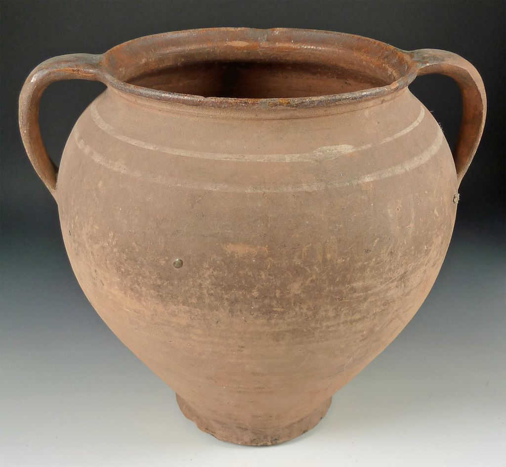 Large Austrian Double Handle Earthenware Pottery Early
