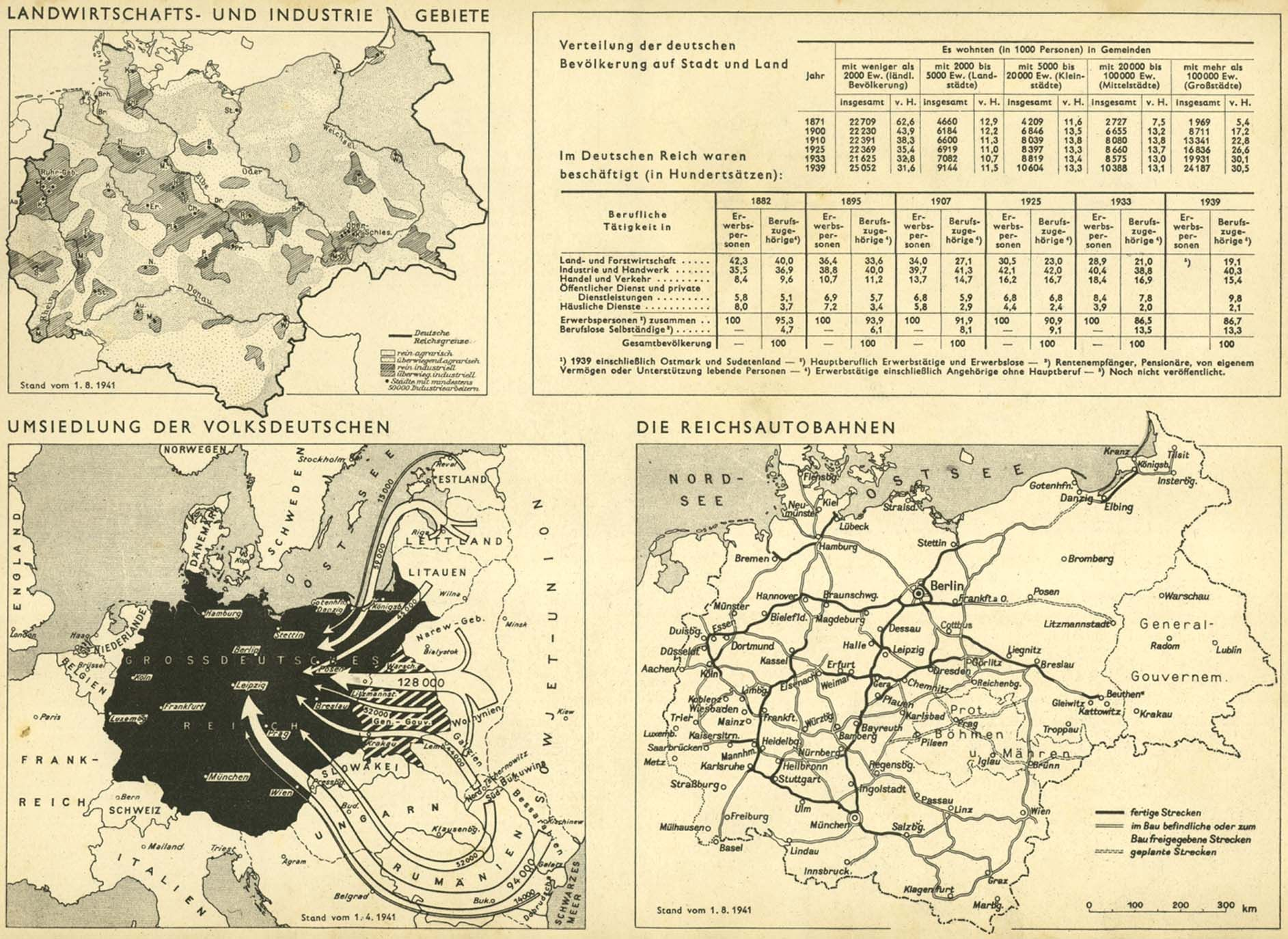 german 1941 okw atlas autobahn network and german settlements