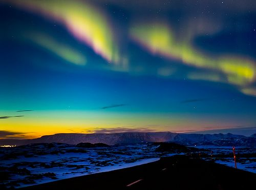 drive into the northern lights. beautiful.
