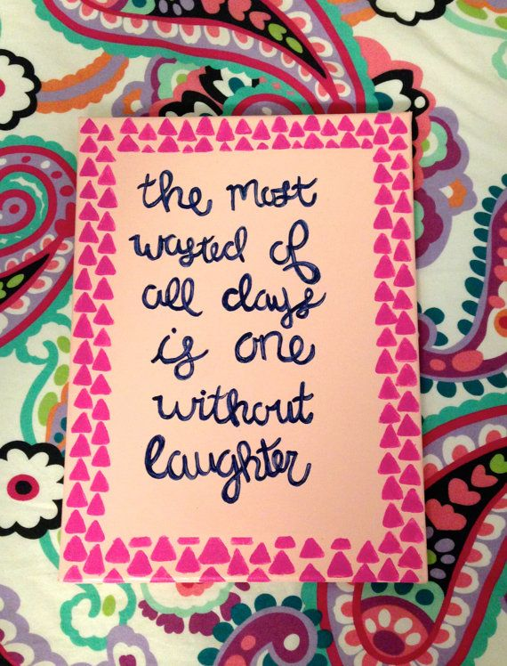 awesome Girly Canvas Painting Ideas Part - 10: Quote on Canvas Painting 9x12 by ClaflinCanvas on Etsy #canvas #art  #forsale #etsy #girly #quote #artsale #laughter