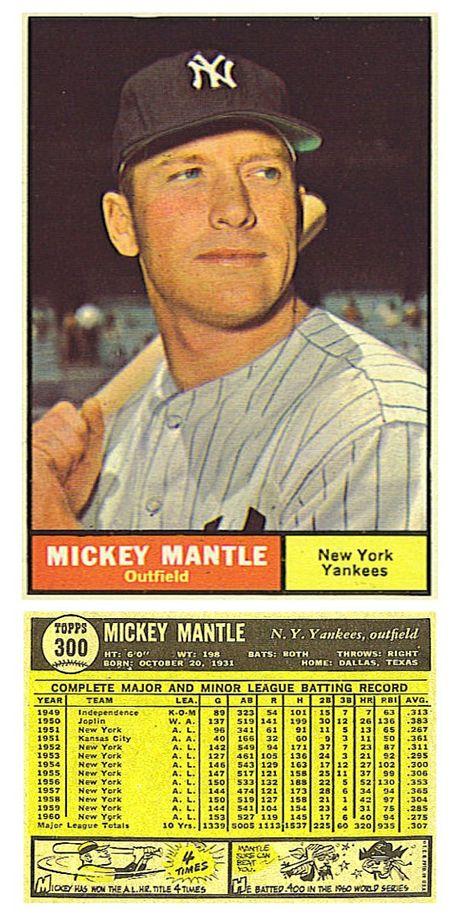 1961 Mantle I Had This Card As A Kid Baseball Cards Baseball