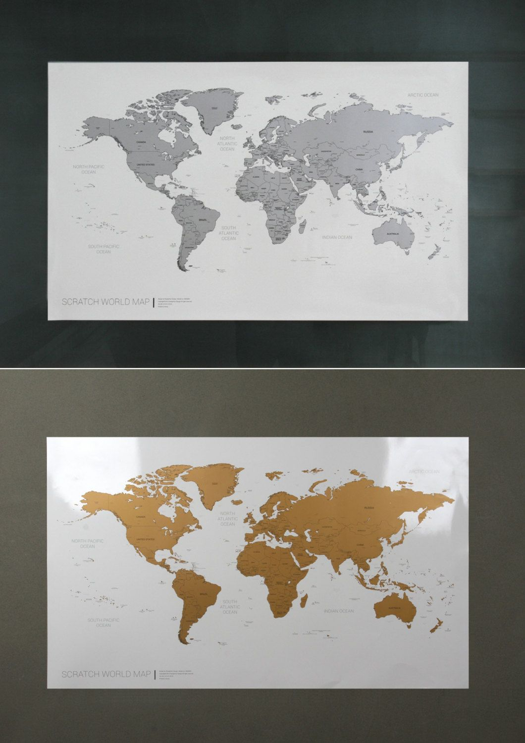 Scratch Off World Map Poster Silver Gold