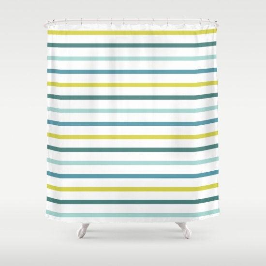 teal striped shower curtain. Nautical Striped Shower Curtain Blue Green Yellow By HuntleighCo