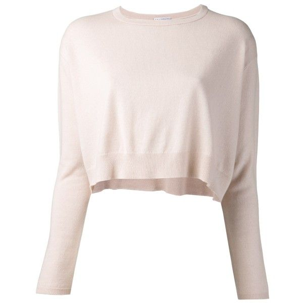 Brunello Cucinelli cropped sweater ($660) ❤ liked on Polyvore featuring tops, sweaters, cashmere sweater, pink crop top, pink sweater, long sleeve tops and pink top