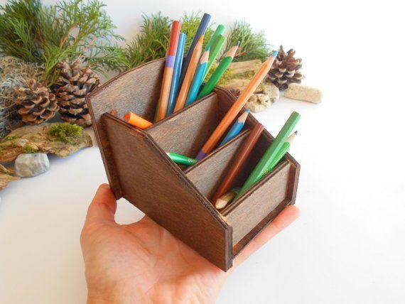 pencil holder mahagony colored wooden desk organizer made of pine rh pinterest com