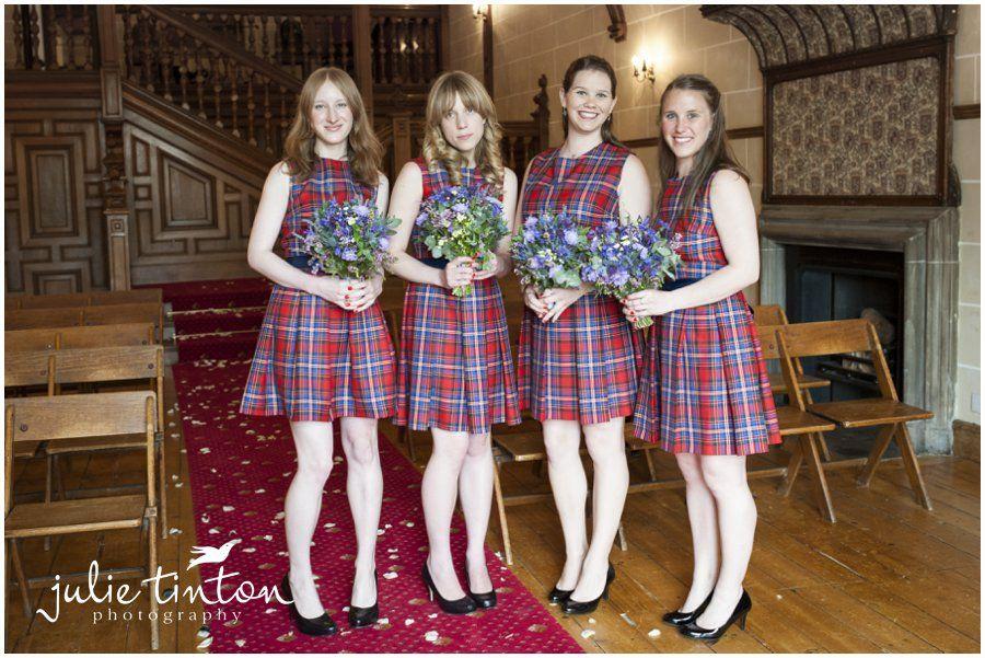 Edinburgh Wedding Photographer Julie Tinton Photography Tartan Bridesmaid Dresses By Bride Fabric From Scotweb