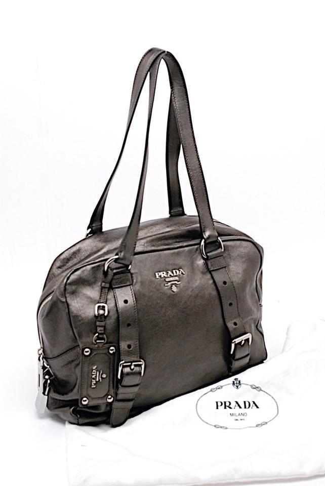 e1862390c430 Double Handle Silver Hw Dark Gray Metallic Leather Shoulder Bag ...