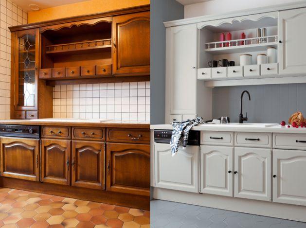 Refaire cuisine en bois relooker cuisine provencale - Refaire sa cuisine rustique en moderne ...