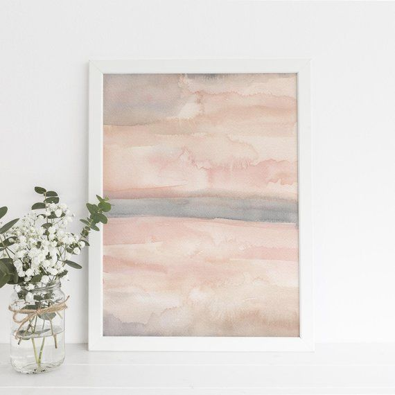 Blush Pink Print Abstract Simple Watercolor Modern Home Decor