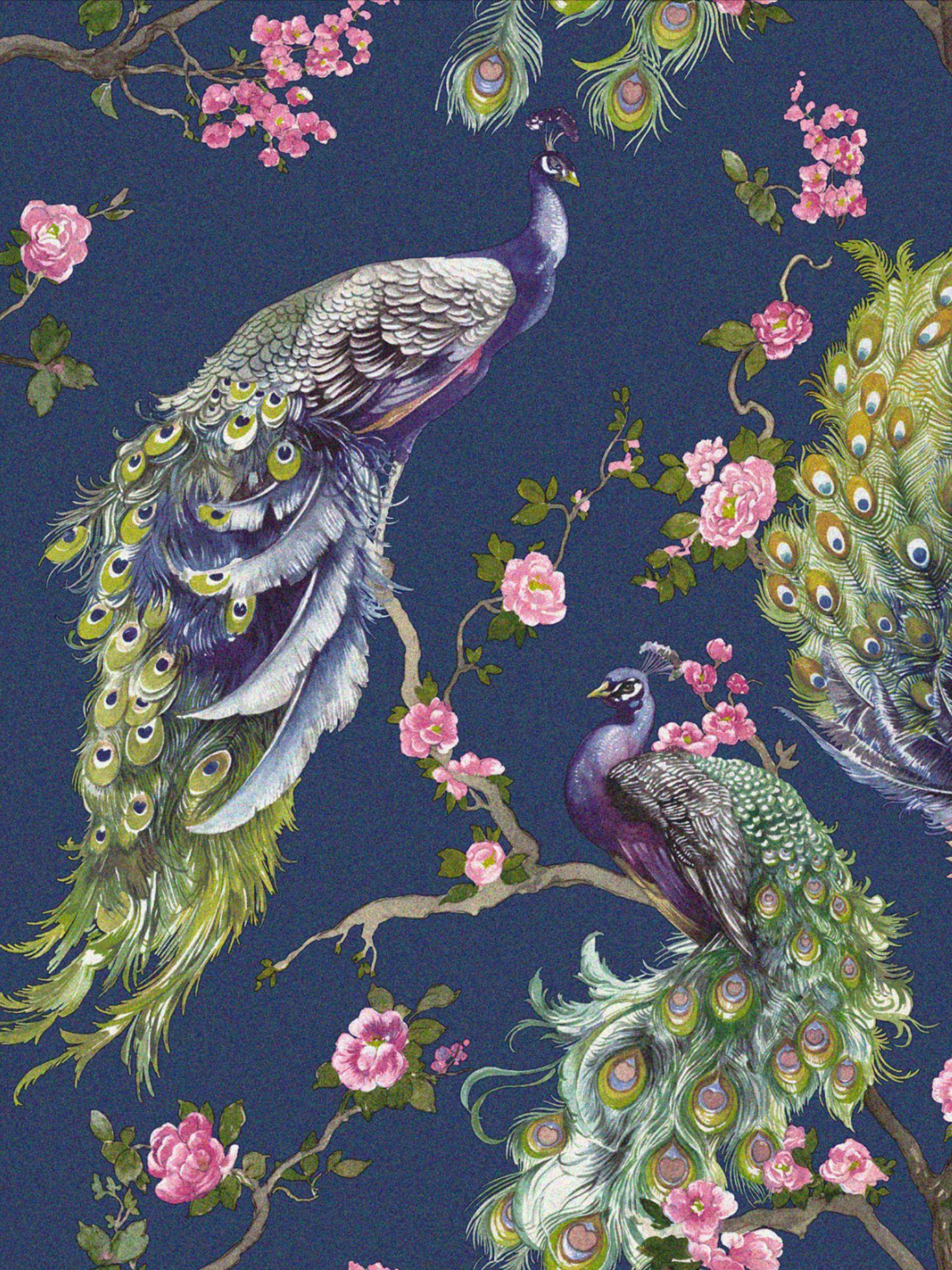 Holden Decor Menali Wallpaper Vinyl Glitter Floral Peacock Feathers Wallpaper