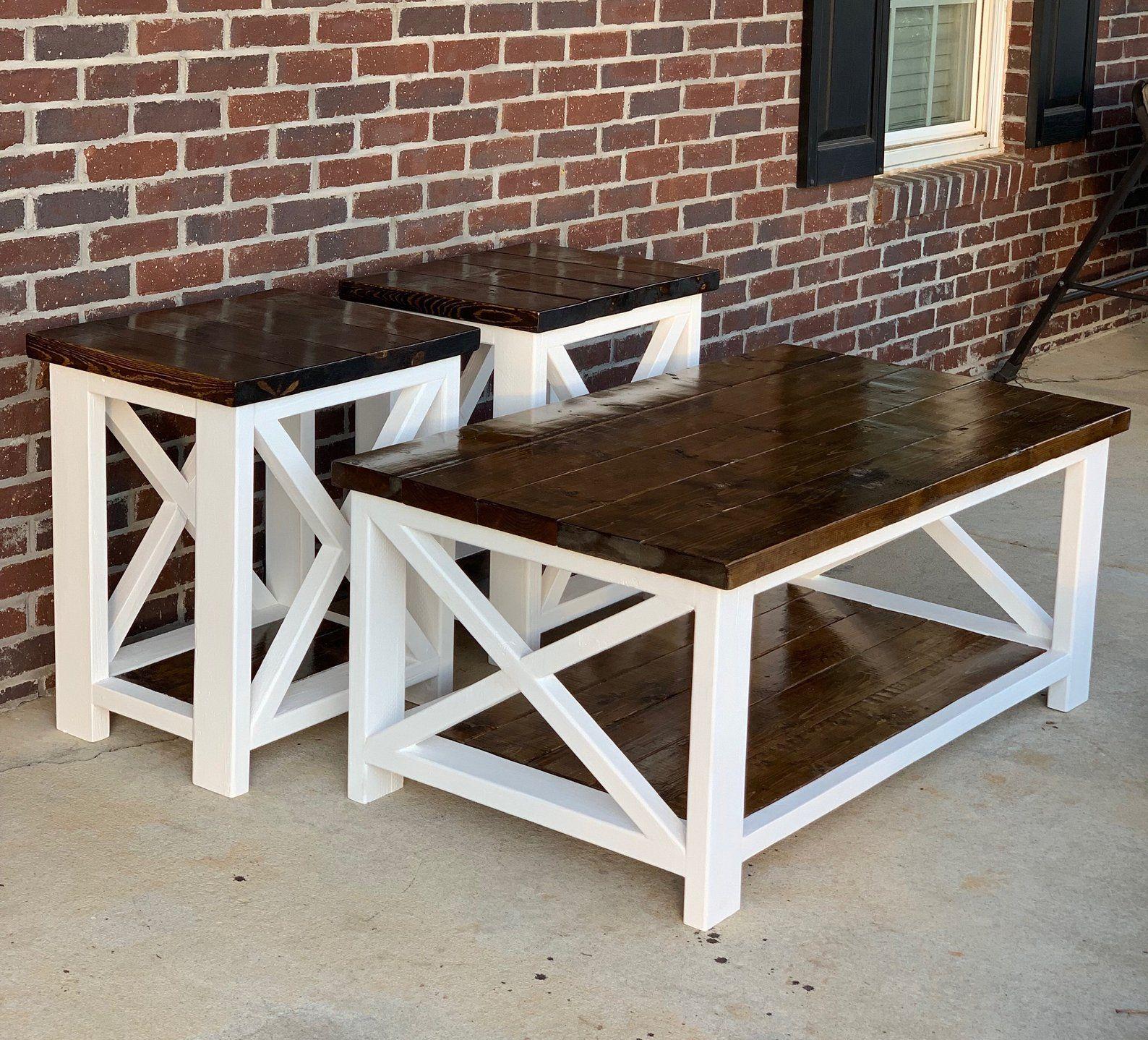 Best Custom Farmhouse Coffee Table End Table Set Etsy 400 x 300