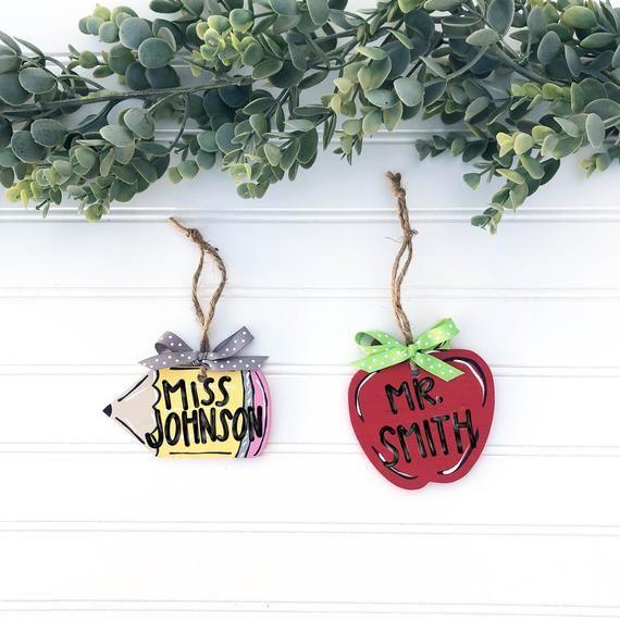 Personalized Teacher Ornament, Pencil Teacher Ornament, Apple Teacher Ornament, Best Teacher Ever, Number One Teacher, Teacher Gift Idea