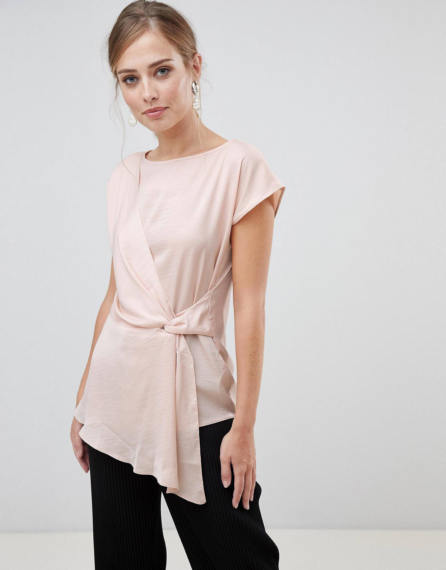44f36f37b55e58 Oasis satin drape front top in pink in 2019 | Cozy | Tops, Tie front ...