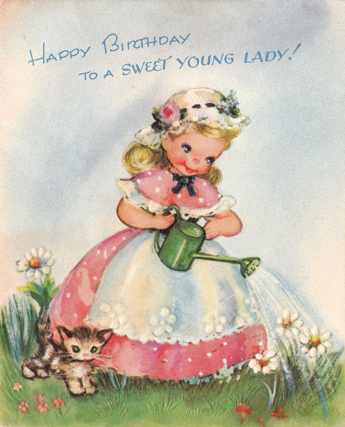Vintage 1940s Happy Birthday To A Sweet Young Lady Greetings Card