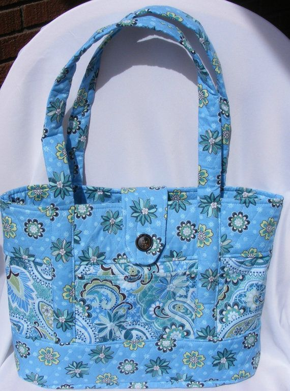 Bright Blue Flower Printed Quilted Fabric by FindUrHappyPlace, $40.00