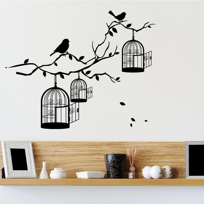 bird cages branch vintage wall sticker world stickers with cage art vinyl decals