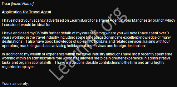 Travel Agent Job Application Cover Letter Examples Making