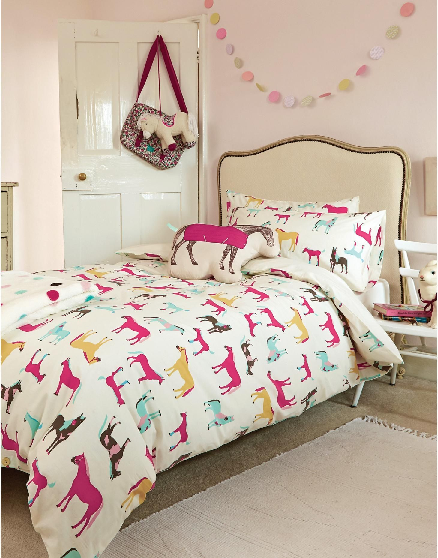 Horse bedding for girls - Joules Girls Horse Play Duvet Cover Cream You Loved Our Bright Pony Print So