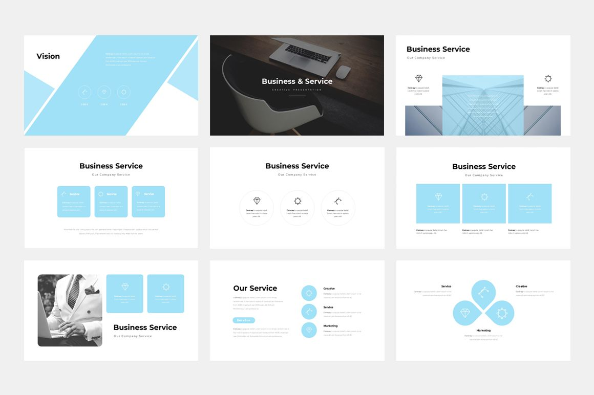 Clean Business Presentation Powerpoint Template 76963