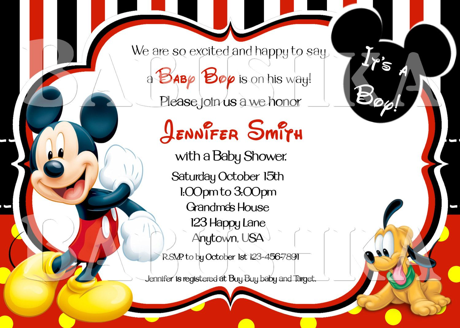 Baby Shower Invitations/ Mickey and Baby Pluto Baby Shower ...