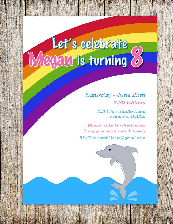 Printable Rainbow Dolphin Party Birthday Invitation -- sarah O chic ...