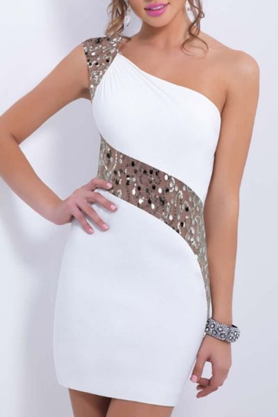 One Shoulder See-Through Sequins Splicing Dress WHITE: Club Dresses   ZAFUL