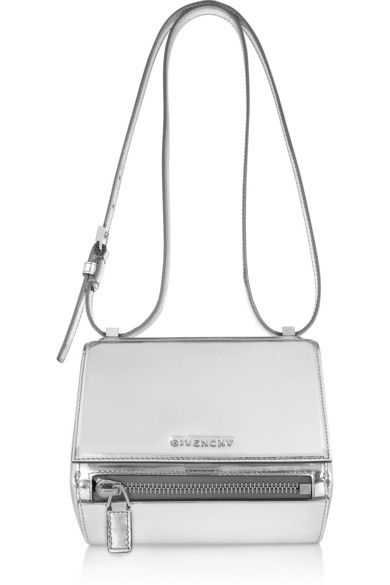 Givenchy Small Pandora Box bag in mirrored leather, $2,190 at Net-A-Porter. Silver mirrored leather bag with shoulder strap. A great statement piece on its own, or layer with more silver for an unmistakable street-style look.