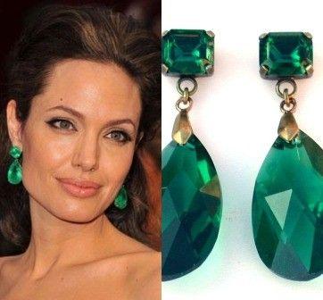 Emerald Earrings Angelina Jolie Earrins -  Angelina Jolie's Inspired Gorgeous Emerald  Earrings in  Crystal SWAROVSKI. via Etsy.