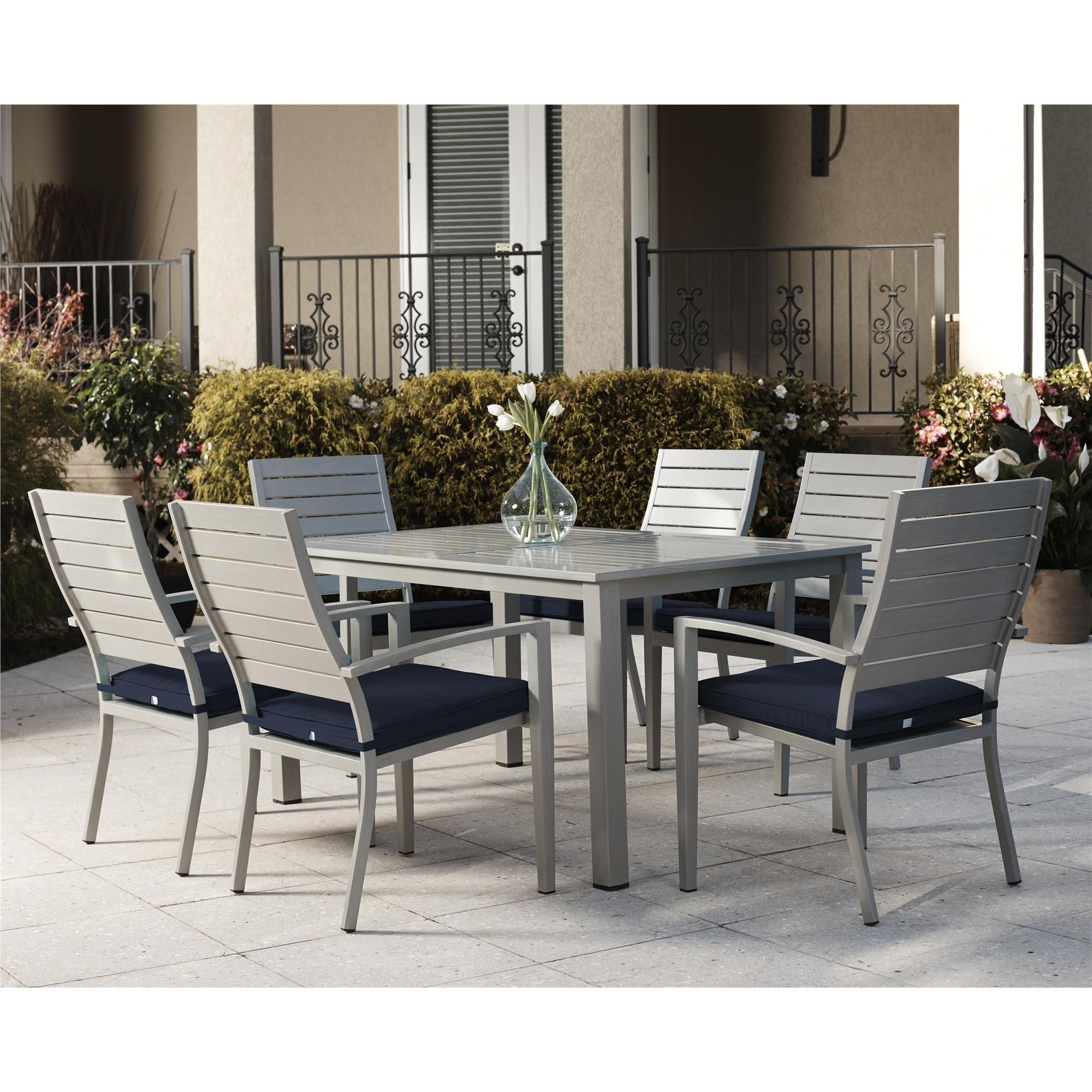 Cosco Outdoor Living 7 Piece Blue Veil Brushed Aluminum Patio Furniture Dining Set With Cushions