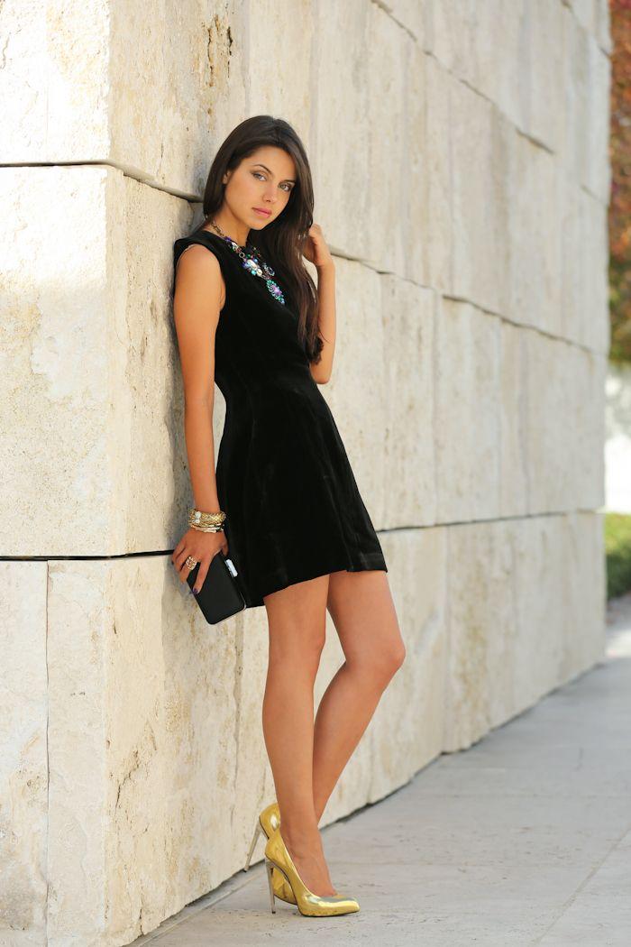 black velvet dress with gold heels
