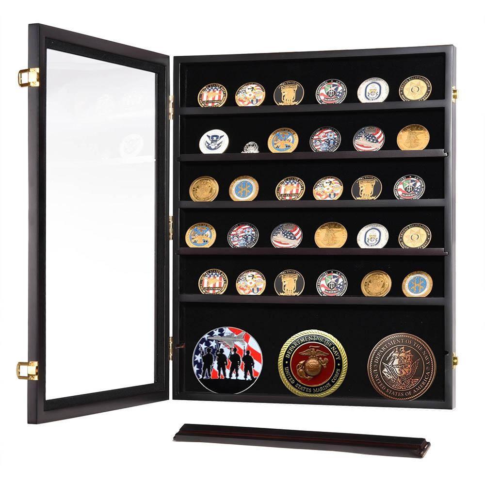 Thelashop Military Shadow Box Pins Badge Coin Display Cabinet Rack Wood Challenge Coin Display Coin Display Case Challenge Coin Display Case