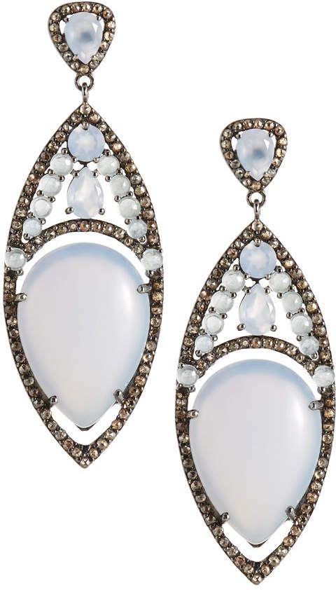 Bavna Chalcedony & Aquamarine Drop Earrings w3Kqt
