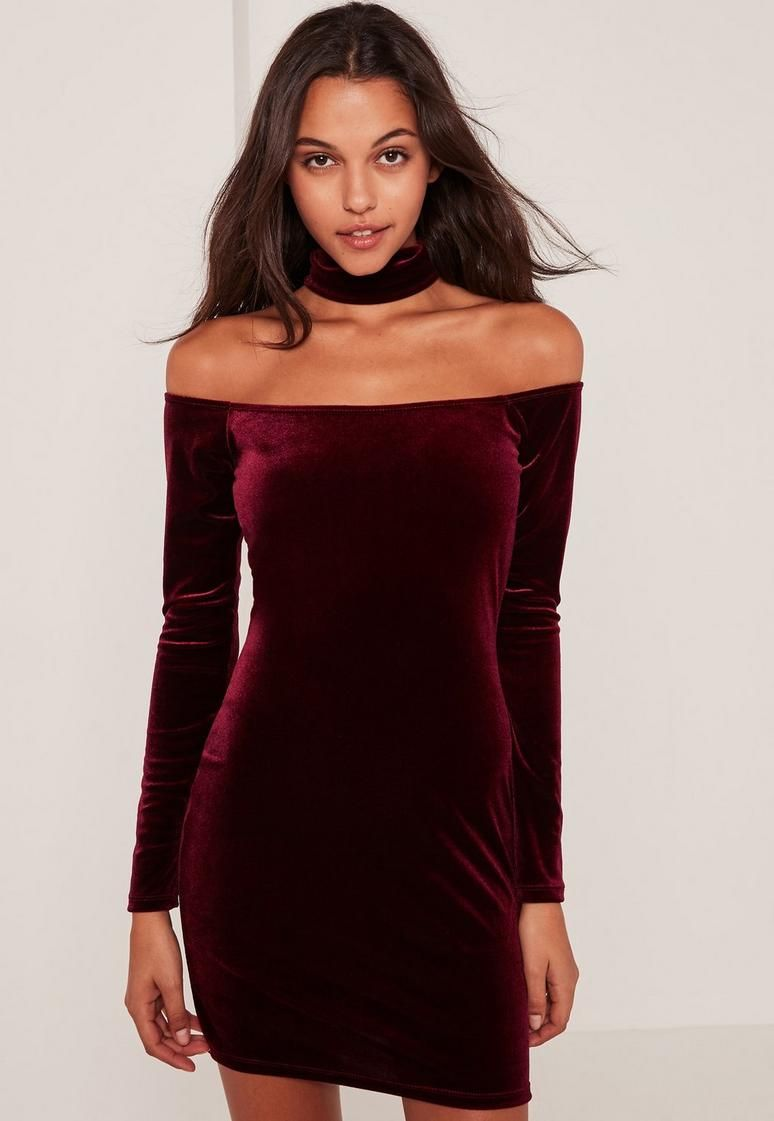 ♡Burgundy Choker Neck Bardot Velvet Bodycon Dress♡  d7c759b87