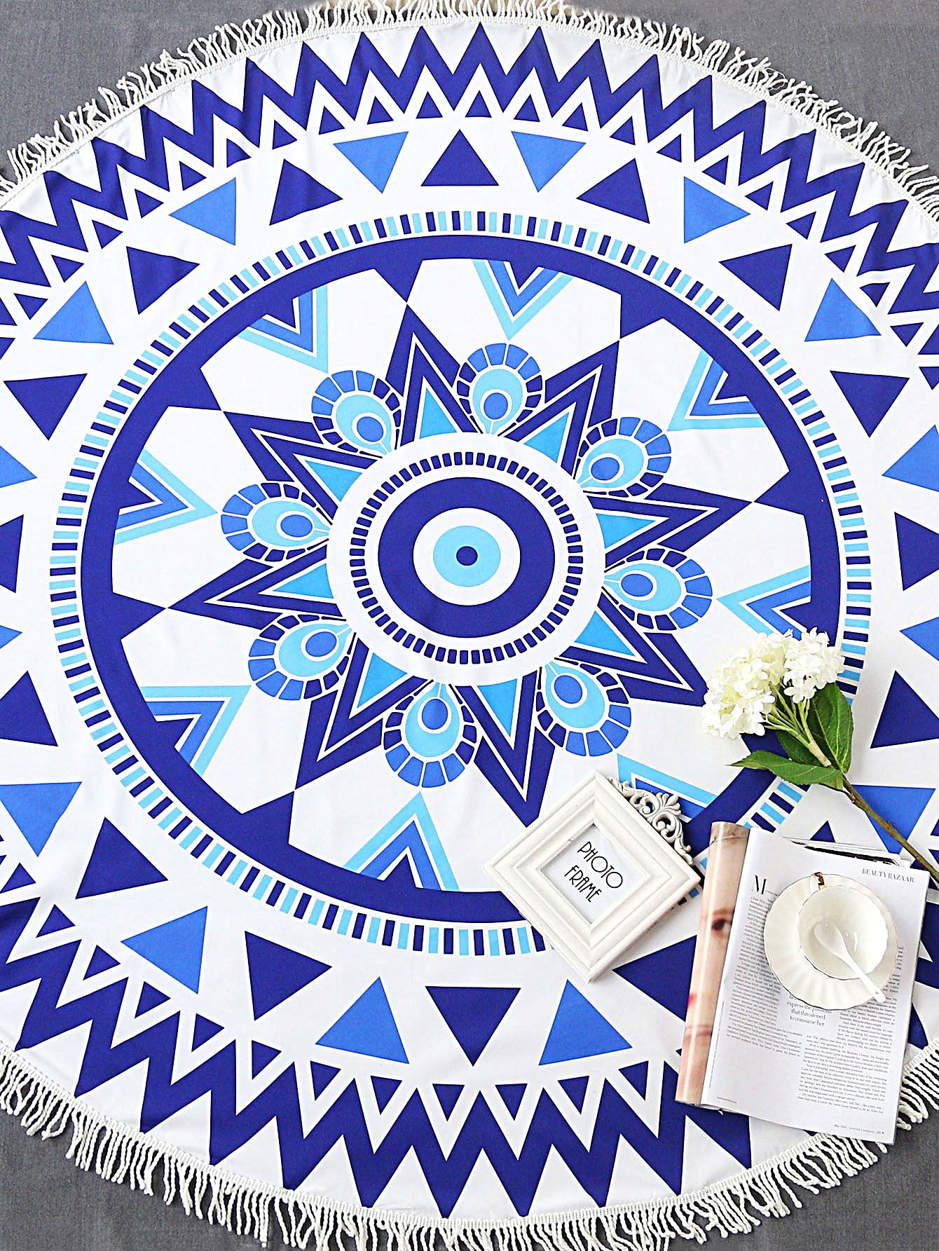 Buy it now. Blue Geometric Print Fringe Trim Round Beach Blanket. Blue Cover Ups & Beach Dresses Vintage Polyester Print Swimwear. , vestidoinformal, casual, camiseta, playeros, informales, túnica, estilocamiseta, camisola, vestidodealgodón, vestidosdealgodón, verano, informal, playa, playero, capa, capas, vestidobabydoll, camisole, túnica, shift, pleat, pleated, drape, t-shape, daisy, foldedshoulder, summer, loosefit, tunictop, swing, day, offtheshoulder, smock, print, printed, tea, baby...