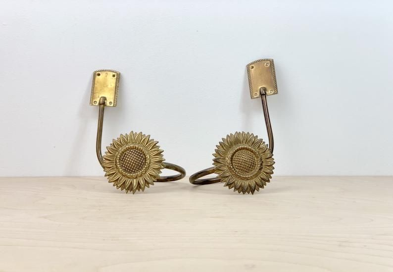 Vintage Brass Sunflower Curtain Tie Backs In 2020 Curtain Ties
